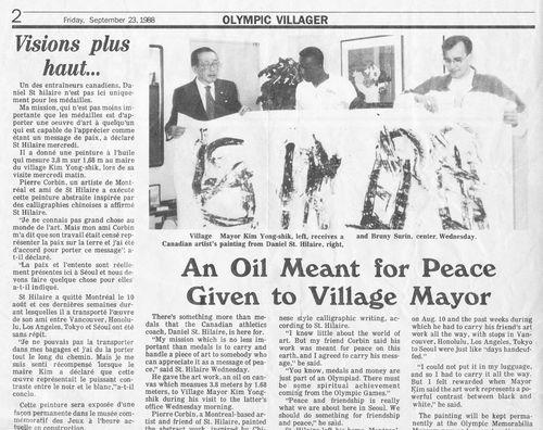 L'entraîneur Daniel St-Hilaire remet une oeuvre de Pierre Corvbin au Ministre des Affaires étrangères et Maire du village olympique de Séoul, Kim Yong-Shik (1988)