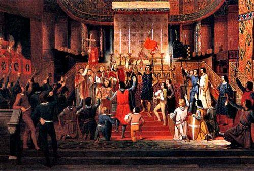 Louis VI prend l'oriflamme de Saint-Denis.