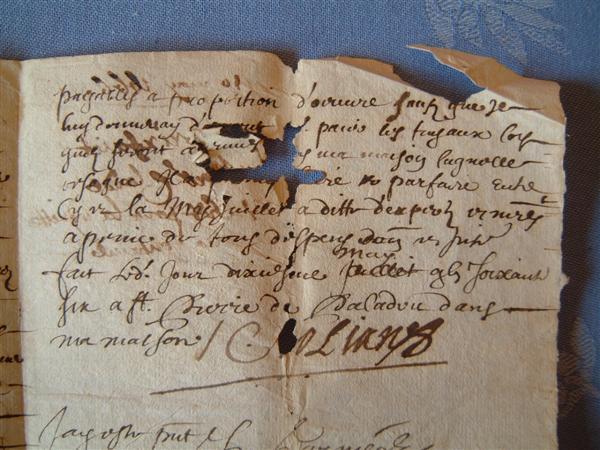 Lettre écrite par Claude BOLIAN en sa maison de St Pierre de Paladru le 10 mai 1665. Lettre destinée à Vichet, fontainier.