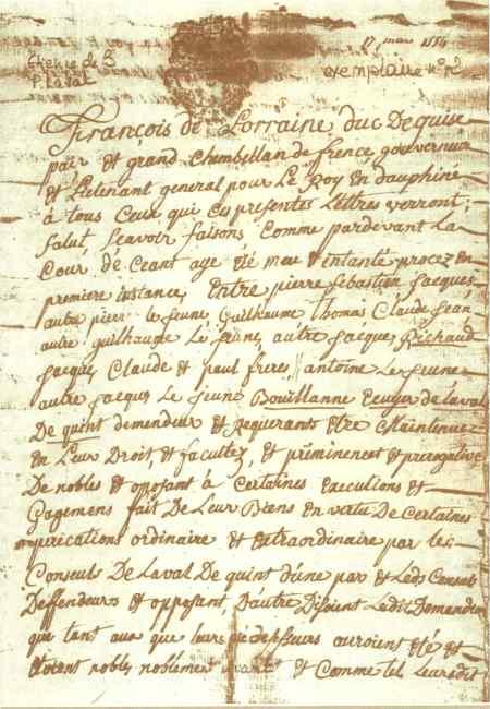 Acte de 1554 par François de Lorraine duc de Guise, grand chambellan de France, reconnaissant la noblesse des de Bouillanne et de Richaud.