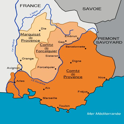La Provence en 1125, divisée en marquisat et comté de Provence et comté de Forcalquier.