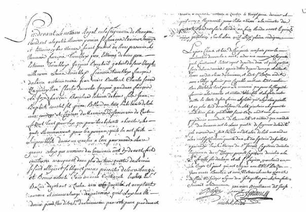 Entente entre le Séminaire et les habitants de l'Ile-aux-Coudres dont Jean-Marc Bouillanne, pour la construction d'un moulin à vent (Nouvelle-France/Québec 17-07-1752).
