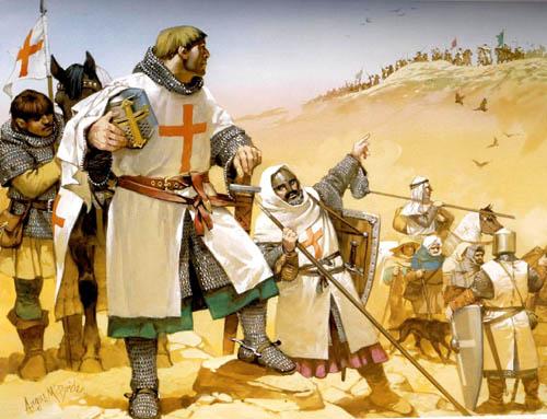 Les Templiers assurent la protection des pélerins