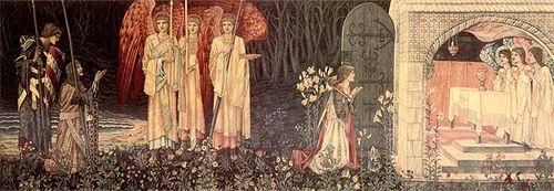 Galahad, Bors et Perceval découvrant le graal, ici clairement identifié au Saint Calice. Peinture de William Morris (1890).