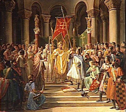 Philippe Auguste soulevant l'oriflamme le 24 Juin 1190