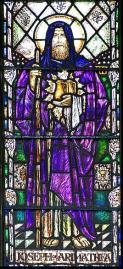 Joseph d'Aimathie tenant le Graal (église de Glastonbury)