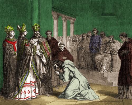 Louis le Pieux doit s'humilier dans une église de Soissons, en habits de pénitent.