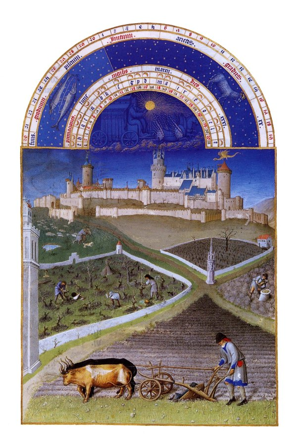 Le château de Lusignan, propriété du duc de Berry, et le dragon ailé représentant la fée Mélusine.
