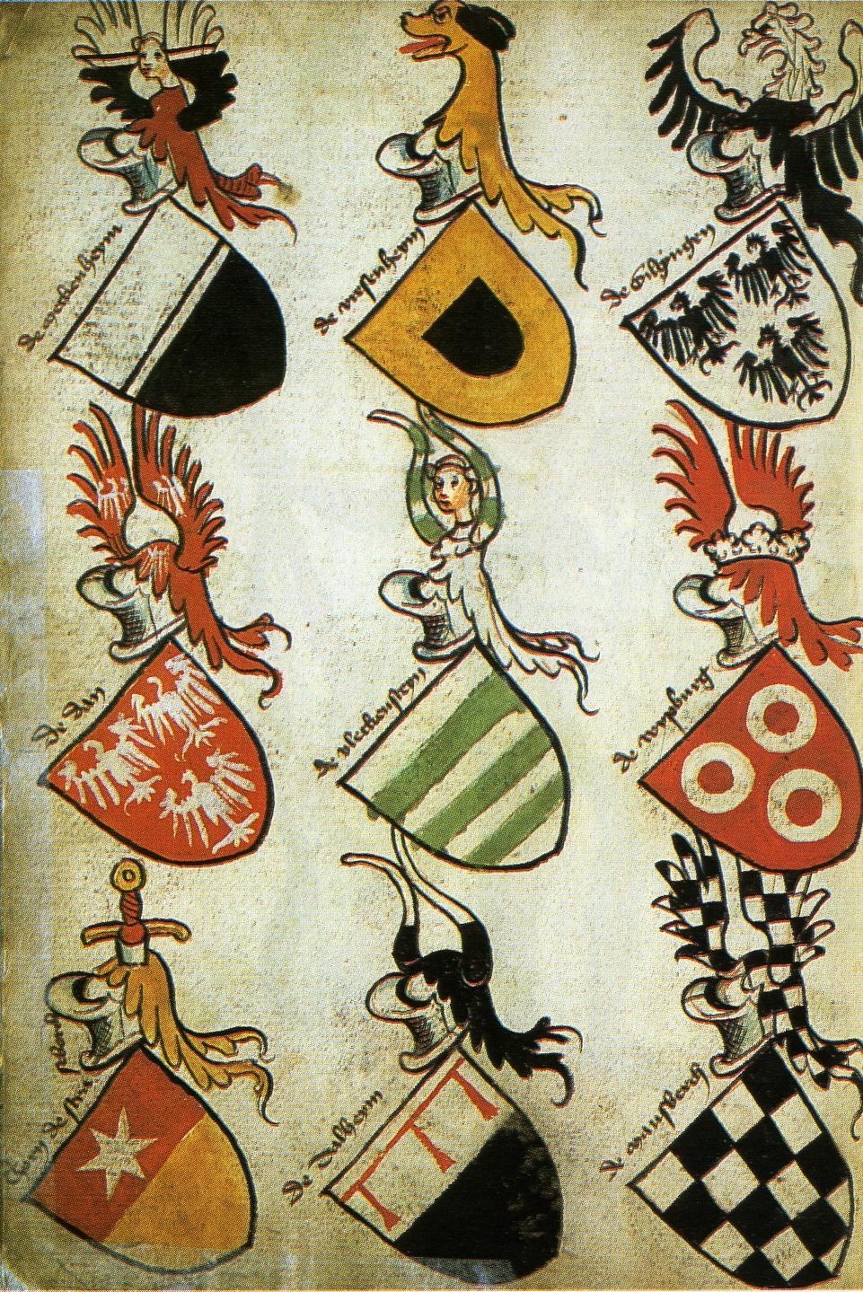Blasons dans un armorial du XVe siècle.