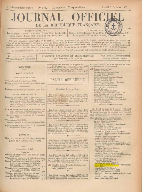 Journal officiel de la République française (7 octobre 1907)