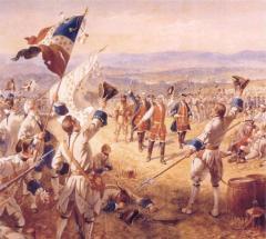 La victoire de Montcalm avec ses troupes à Carillon par Henry Alexander Ogden.