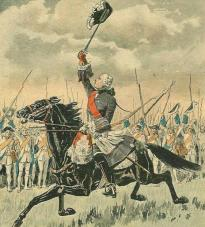 Le général Lévis encourageant ses troupes à la bataille de Sainte-Foy.