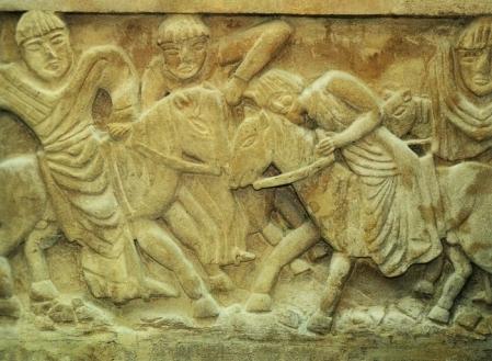 Le martyre de saint Dagobert II, stèle conservée à Stenay.
