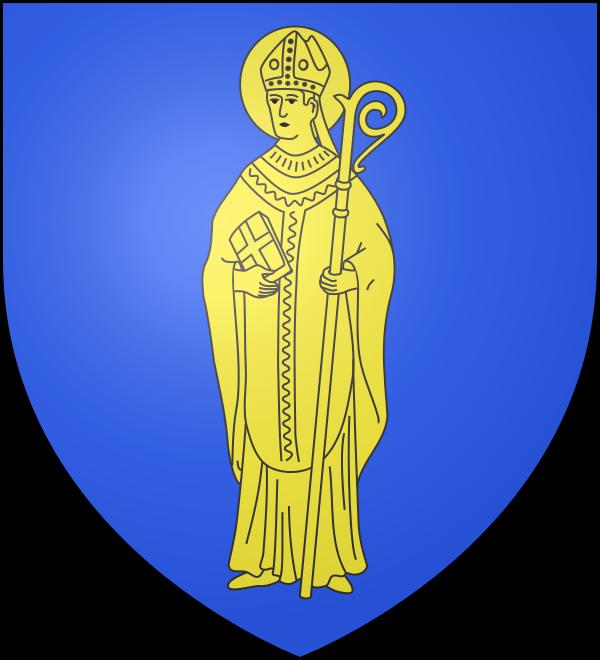 Les armes de Batzendorf se blasonnent ainsi, « D'azur à saint Arbogast évêque mitré, crossé et auréolé d'or. »