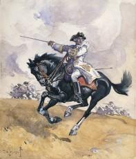 Montcalm à la tête de ses troupes sur les plaines d'Abraham. Aquarelle de Charles William Jefferys.