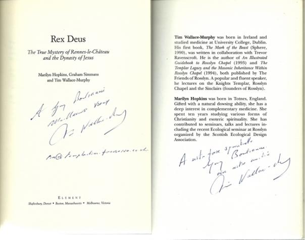 Deux livres de Tim Wallace-Murphy dédicacés à Guy Boulianne.
