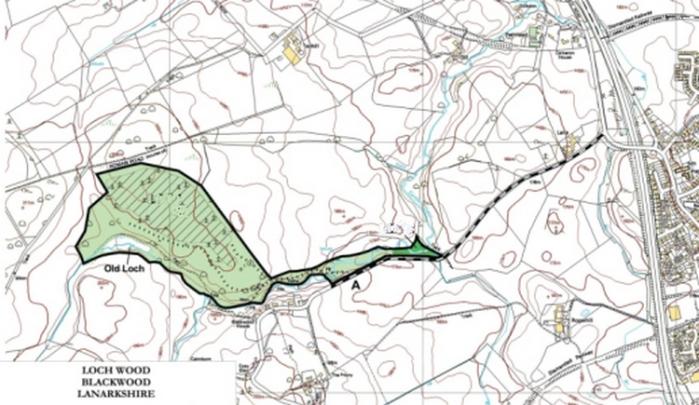 La carte du Loch Wood (Blackwood), en Écosse.