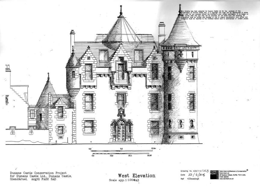 Les plans originaux du château de Dunans, en Écosse.
