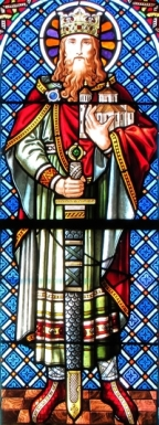 Detail of a stained glass window of Saint Dagobert II; by Jean Weyh in the 19th century; Chapelle Saint-Léon, Alsace, Haut-Rhin, France; photographed in 2014 by Ralph Hammann