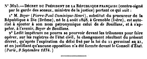 Décret du Président de la République Française (9 septembre 1874).