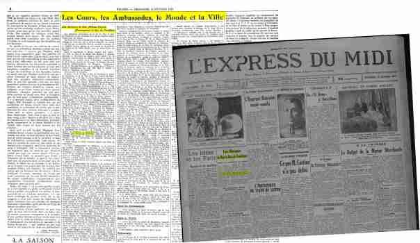 Le Figaro (15 février 1931) et l'Express du Midi (13 février 1931).