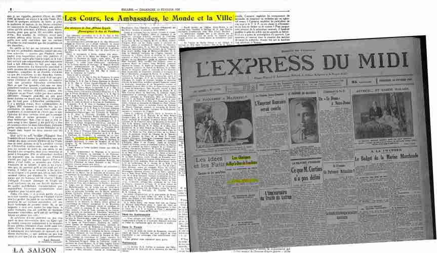 Le Figaro 15 février 1931 - L'Express du MIdi - 13 février 1931