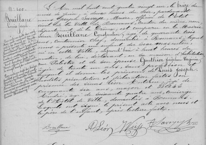 Acte de naissance de Louis Joseph Bouillane, le 13 juin 1881 à Romans, Drôme (France).