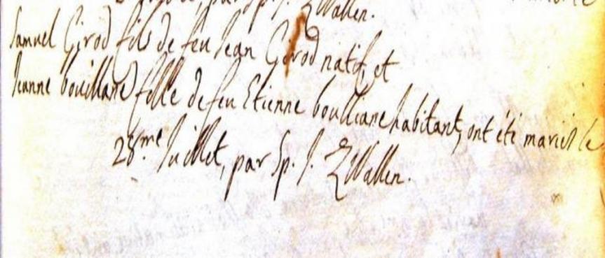 Certificat de mariage entre Samuel Girod et Jeanne de Bouillane, fille de Etienne de Bouillanne et Jeanne Bonne Faucon (28 juillet 1744).
