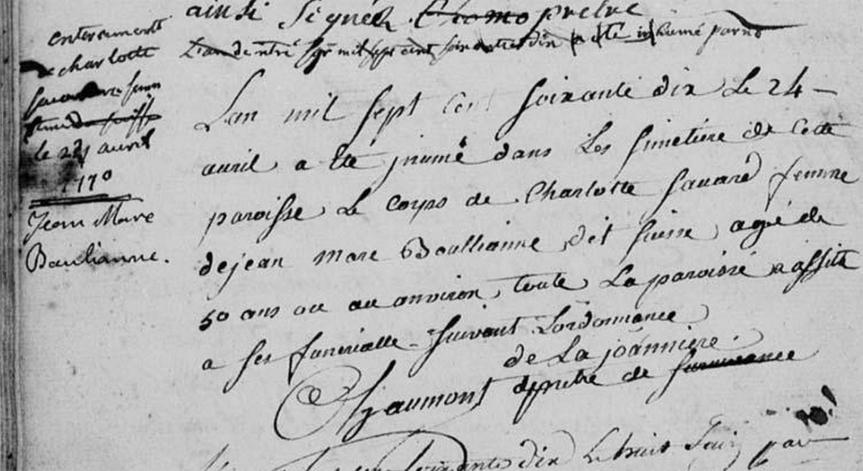 Acte de décès de Charlotte Savard , inhumée le 24 avril 1770 à l'Ile-aux-Coudres, Québec