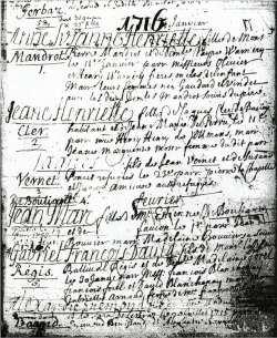 Acte de naissance de Jean-Marc Bouillanne, le 1er février 1716