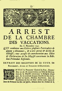 Arrêt de la Chambre des vacations du 6 novembre 1745