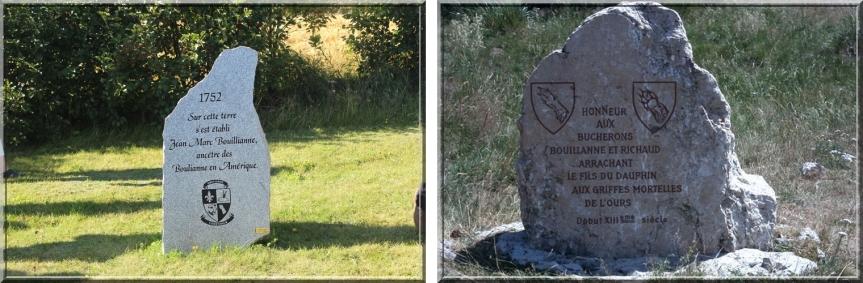 Comparatif entre la stèle érigée par l'Association des familles Boulianne Inc, au Québec, et celle érigée par l'Association des Richaud et des Bouillanne, en France.