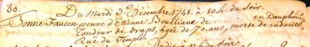 Décès de Jeanne Bonne Faucon, 3 décembre 1748. Rue du Temple, Genève, Suisse.