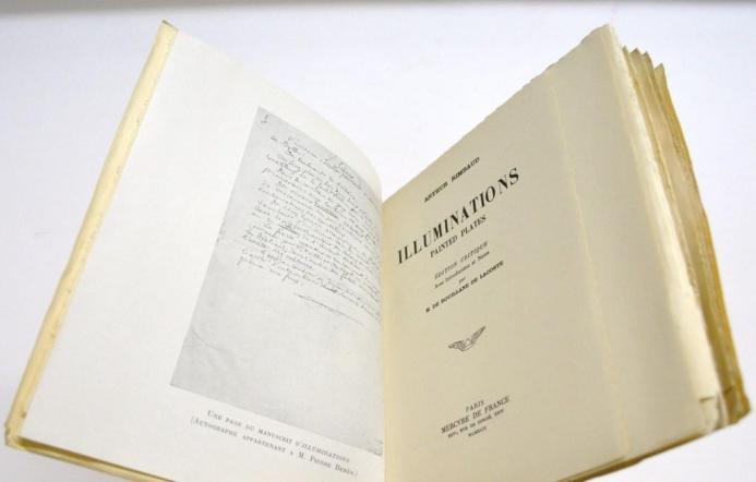 Illuminations - Painted Plates, par Arthur Rimbaud. Édition Critique avec Introduction et Notes par Henry de Bouillane de Lacoste [1949]. 1 des 75 Exemplaires Numérotés sur Vergé.