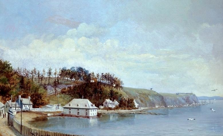 L'Anse au Foulon, à Québec. Henry Richard S. Bunnett, 1887, Huile sur toile, 24.5 x 35 cm.