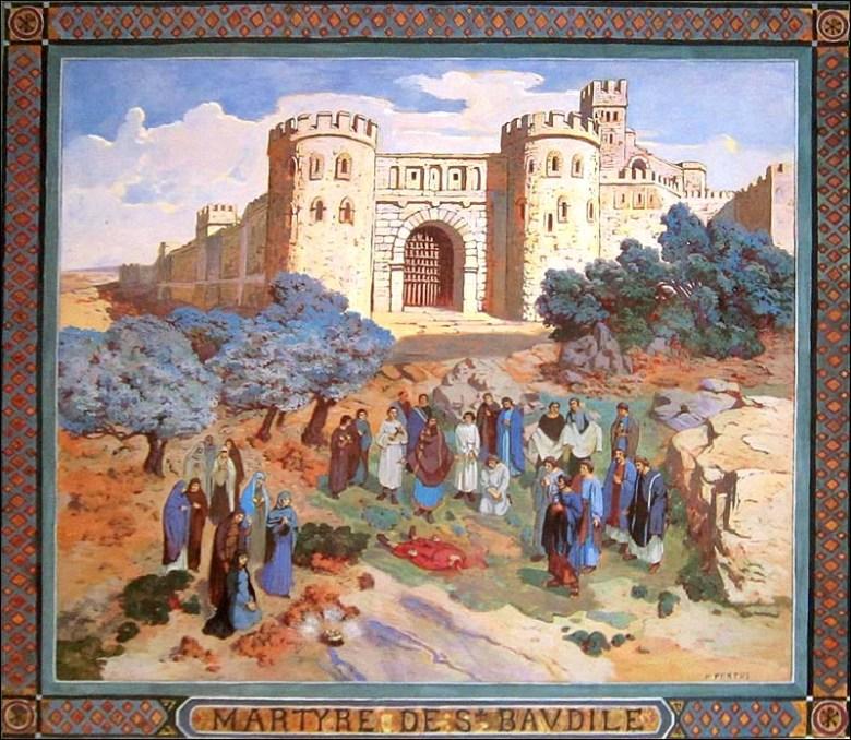 Martyre de Saint Baudile. Enluminure de Ferdinand Pertus, musée de Nîmes.