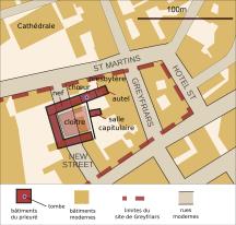 Plan du site de Greyfriars, à Leicester, où ont été retrouvés les restes de Richard III.