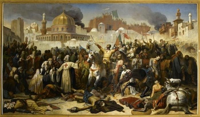 Prise de Jérusalem par les Croisés, 15 juillet 1099, Godefroy de Bouillon rendant grâce à Dieu en présence de Pierre L'Ermite, Emile Signol.