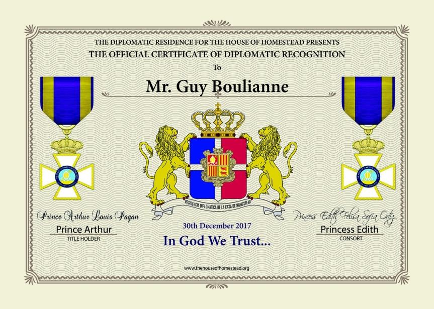 Certificat officiel de Reconnaissance diplomatique remis à Guy Boulianne.
