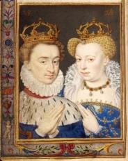 Henri et Marguerite, roi et reine de Navarre (vers 1572). Miniature du livre d'heures de Catherine de Médicis.
