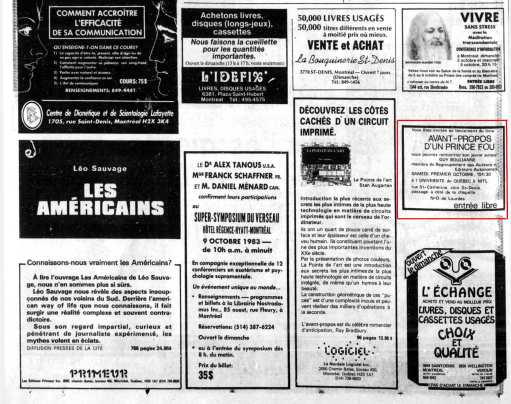 La Presse, 1 octobre 1983, D. Arts et spectacles, page 2 (ZOOM)