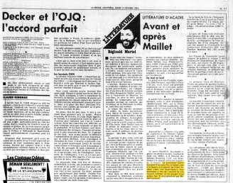 La Presse, 13 février 1984, Cahier A, page 11 (ZOOM)