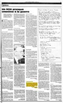 La Presse, 18 janvier 1991, cahier B. Informations nationales, page 3 - Poème