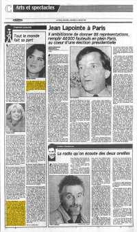 La Presse, 20 janvier 1988, C. Arts et spectacles, page 1 - Grimaldi