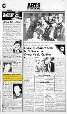 La Presse, 30 octobre 1985, C. Arts et spectacles, page 1 - Grimaldi