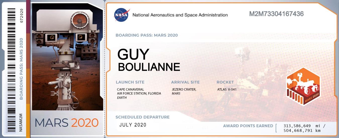 Boarding Pass - Guy Boulianne - Mars 2020