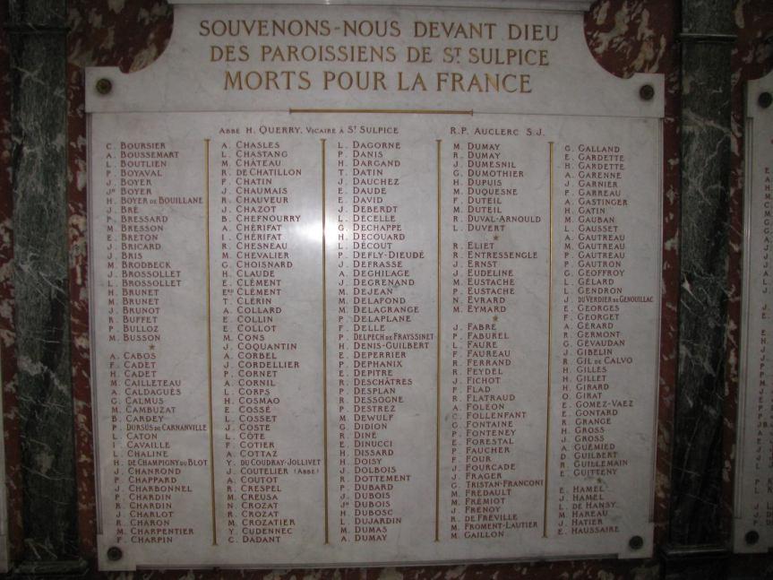 Plaques commémoratives 1914-1918, Église Saint-Sulpice (Paris, France)