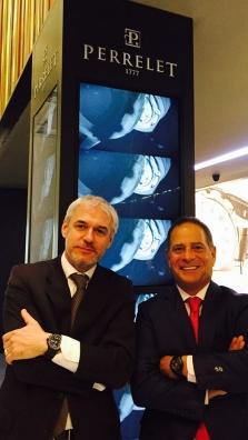 Tristan Boyer de Bouillane, directeur général de Perrelet International, et Michael Goldstein, directeur général de Perrelet USA, au Baselworld 2015 (Hall 1.1. Stand A51, 21 mars 2015).
