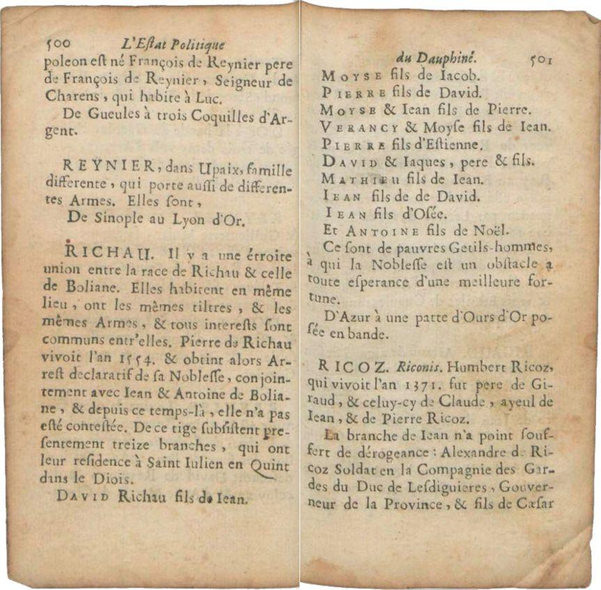 L'Estat politique de la province de Dauphiné (1671-72), pp. 500-501