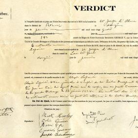 Verdict de l'enquête du coroner Jules Constantin suite au décès d'Alexis Lapointe, Cour de magistrat pour le district de Roberval, 1924. BAnQ Saguenay (TL346, S26, SS1, dossier 193).